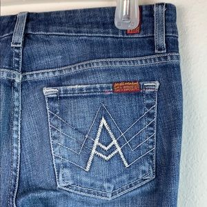 7FAMK A pocket bootcut flare boho jeans, EUC 25
